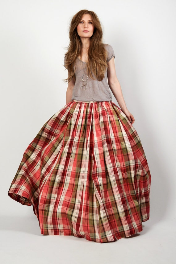 vintage SILK TAFFETA plaid ball gown Maxi Skirt S/M M long