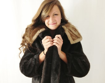 1960s Faux Fur Coat - Fur Collar Coat - Large - Long Fur Coat - Mod Coat - Mad Men Coat - Brown Fur Coat - Fall or Winter Coat