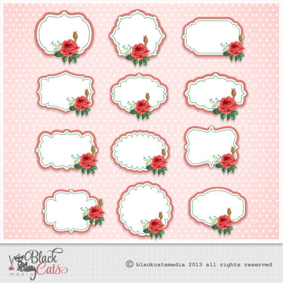 12 Digital Vector Shabby Chic Labels Frames Instant Download Different