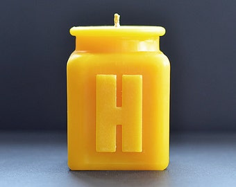 Handmade Personalized Letter H Monogram Beeswax Candle,  All Letters and Numbers Available