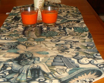 Day of the Dead Contijo Table runner Tattoo Blue