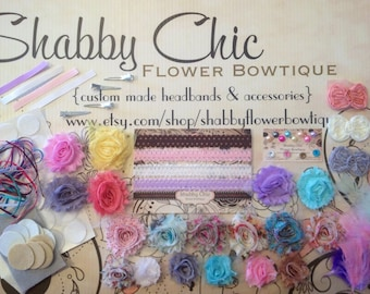 DIY Baby Headband Supply Kit - As Pictured - Creates 15 Customized Headbands 4 Clips - Shabby Chic Flower DIY Birthday Baby Shower