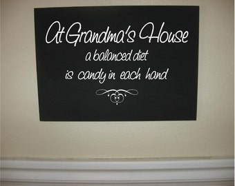 GRANDMA-Custom Personalized Wooden sign-At Grandma's House A Balanced Diet is Candy In Each Hand