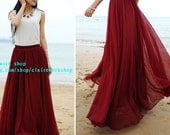 Summer Beach long skirt, chiffon skirts, custom length, any length skirt, red wine dress, woman skirt, maxi skirt, floor length skirt