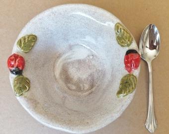 Ladybug Bowl, Handmade Ceramic Stoneware
