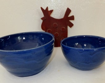 Exotic Blue Indigo Ceramic Mixing Bowl Set, Serving Bowls