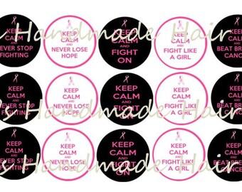 Keep Calm Breast Cancer Awareness Bottle Cap images Instant Download