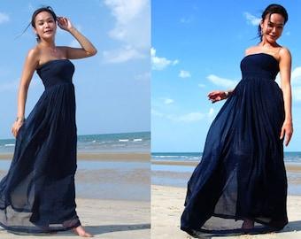 Navy Blue silk chiffon Strapless  Beach evening long maxi Sun dress all size