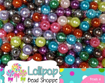 Faux PEARLS 8mm Beads Chunky Beads Faux Pearl Bead Round Beads Acrylic Plastic Imitation Pearls 50 pcs MIX Bubblegum Beads Bubble Gum Bead