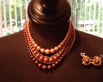 Vintage Brown Cascading Necklace and Earring Set