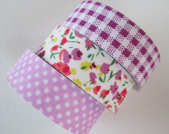 Fabric Tape - 3 Rolls - Gingham, Floral and Purple Polka Dots - 15mm