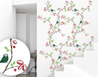Branch Wall Decal - Branch Wall Art - Birds on Branch Decal - Large Wall Decal - 074