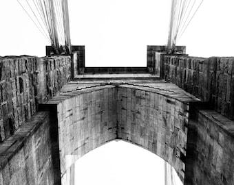 Black & White Photography - Brooklyn Bridge 2 - architecture, monochrome, NYC, new york, fine art print, home decor, wall photo