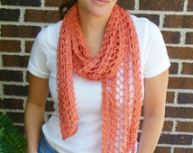 Orange Rust Persimmon Scarf Hand Knit Light Weight Lacy Open Weave Fashion Scarf