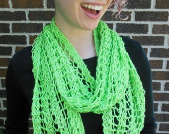 Lime Green Scarf Hand Knit Lacy Open Weave Light Weight Fashion Scarf