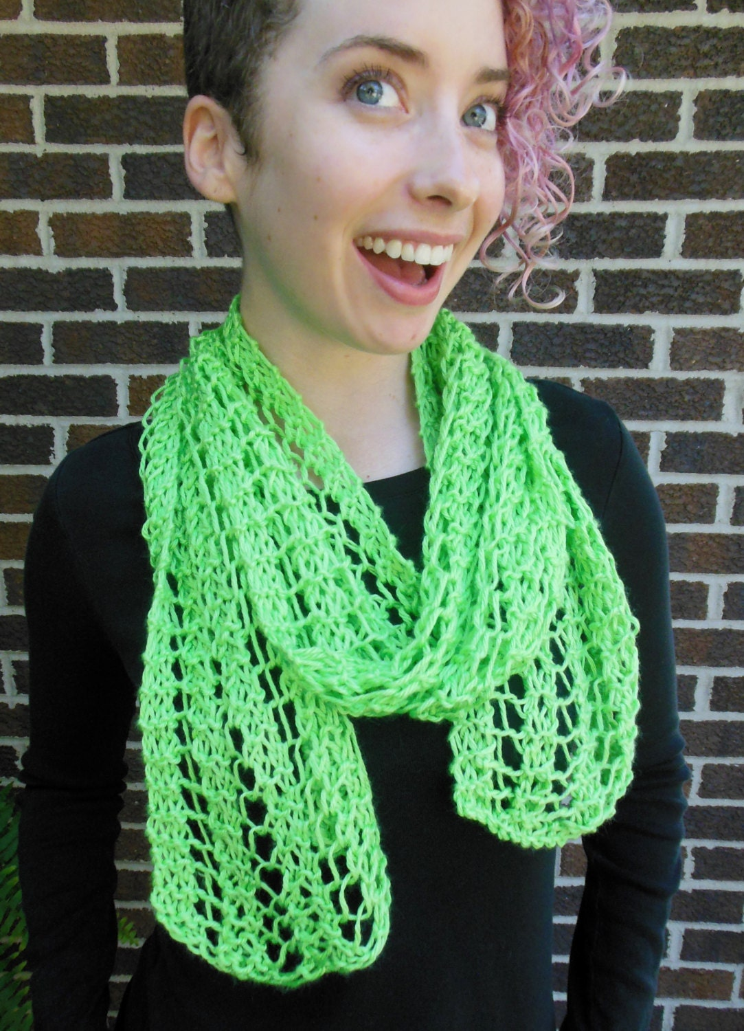 Lime Green Scarf Hand Knit Lacy Open Weave Light Weight