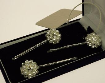 Set of 3 Jane Wedding Hair Pins with finest Bohemian Pearls and Rhinestones -Wedding Hair Pins - Bridal Bobby Pins-Rhinestone Bobby Pins