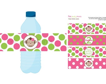 DIY - Girl Mod Monkey Water Bottle Labels- Coordinating Items Available