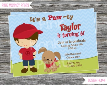 DIY - Boy and Puppy Birthday Party Invitation #344 - Coordinating Items Available