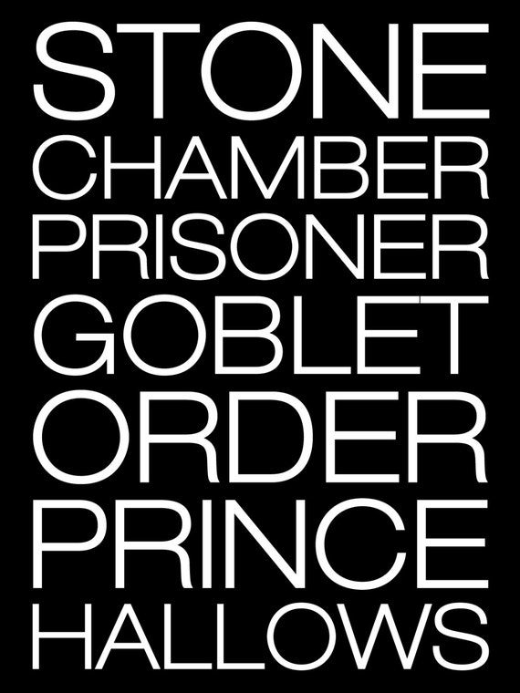 Harry Potter Book Names : Simplistic harry potter book titles poster by printsofthenerds