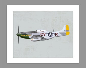 Digital Download Warbirds World War 2 P-51 Mustang art print Boys Rooms Office