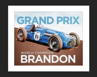 Digital Download Vintage Grand Prix Race Car Grand Prix Personalized Poster Art Print Boys Room - 8x10 or 11x14.