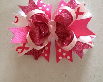 """Breast Cancer: 5"""" Think Pink Hair Bow"""