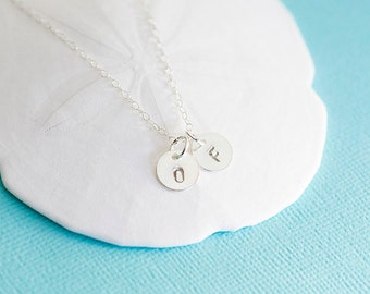 14k Gold Filled or Sterling Silver Initial Necklace, Monogram necklace, Hand stamped necklace