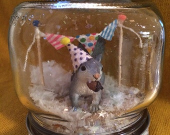 "Party Animal ""Snow Globe"" - Squirrel! - Birthday, Gift, Party, Decoration"