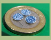 Custom order for Signe,    quarter scale dollhouse miniature hand decorated real porcelain plates, set of 3