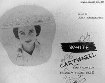 Vintage 1950s Good Housekeeping WHITE CARTWHEEL HAT Sewing Leaflet No. 521 Pattern