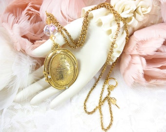 Victorian Vintage Perfume Locket With Glorious Vintage Chain and Crystal
