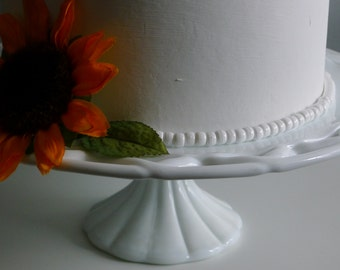 Milk glass cake stand: Colony Lace