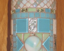 Decorative Bottle Art MOSAIC WINE BOTTLE...Handmade,Gift, Glass Tiles, Pastel Blue Green White W/ Mirror Tile & Silver Accents #001