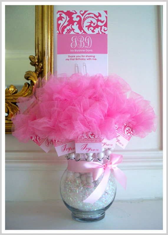 tulle vase centerpiece glass centerpieces candy baptism favors pink shower baby gumball ball beauty etsy bows stick gum tags complete