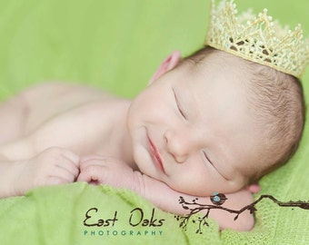 Newborn photo prop crown gold