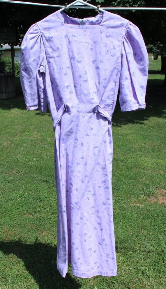 order mennonite lavender print dress