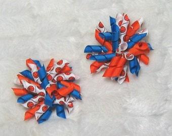 Korker Basketball Hair Bow Set - Cute Set of 2 Orange and Blue Korker Bows with Basketball Korker Ribbon
