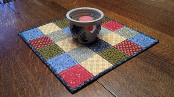 Free Patterns For Quilted Candle Mats : Quilted Candle Mat patchwork pattern blue red by WarmandCozyQuilts