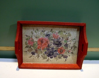 Flowers Vintage Miniature Wooden Tray