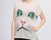 Short Sleeve sweater top with cat print