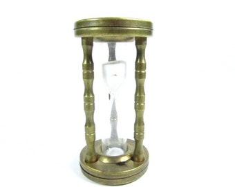 VINTAGE HOUR GLASS, Brass Hour Glass, Primitive Time Piece