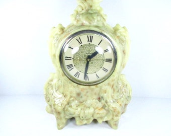 Vintage Clock, Lanshire Clock, Stone in Resin, Mantle Clock, Electric Clock, Ivory colored clock