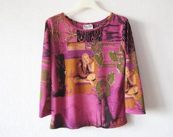 Purple Buddha Top Embroidered Sequined Shirt Medium