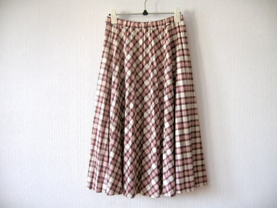 80s accordion pleated skirt white plaid by vintagedreambox