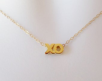 X & O Necklace - Gold Hugs and Kisses Necklace, Gold Necklace, Word Necklace, Valentines Day
