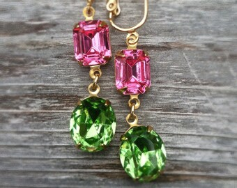 Rose Pink and Peridot Green Swarovski Crystal Dangle Clip On Earrings, Bridal Clip Earring, Peridot