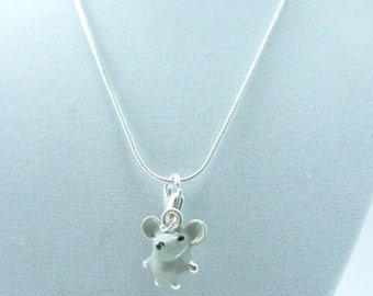 Gray Mouse Necklace Mouse Charm Silver Mouse Necklace Mouse Jewelry Charm Necklace Gray Mouse Charms Necklace Pendant Mouse Gift