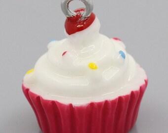 Miniature Cupcake Charm, Pink, Cupcake Jewelry, gift idea