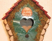 Little Green Love Shack Townhouse Birdhouse Hand Crafted Reclaimed Wood